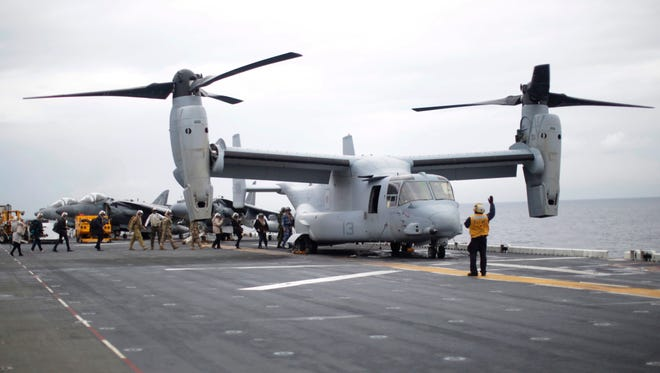 This file photo from June 29, 2017, shows a U.S. Marines MV-22B Osprey Aircraft on the deck of the USS Bonhomme Richard amphibious assault ship off the coast of Sydney. A similar aircraft was involved in a 'mishap' on Aug. 5, according to the U.S. Marines.