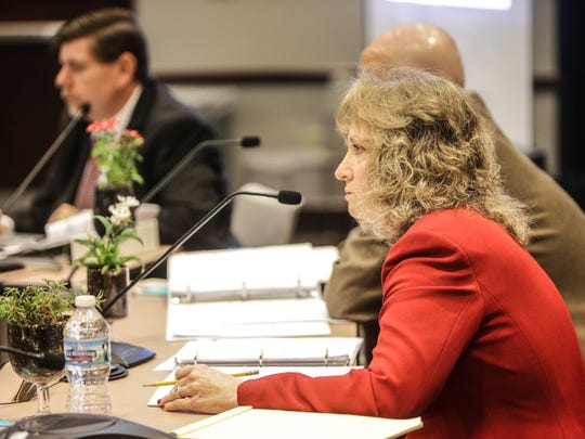 Tuesday May 13th, 2014, Superintendent Glenda Ritz listens to a presentation by  Deputy Superintendent of Public Education Danielle Shockey. The Indiana State Board of Education met at the Indiana Government Center to discus  the requirements for a waiver regarding the federal No Child Left Behind program.