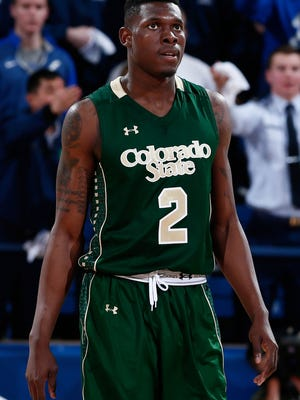 Colorado State Rams forward Emmanuel Omogbo (2) in the second half against the Air Force Falcons at Clune Arena.