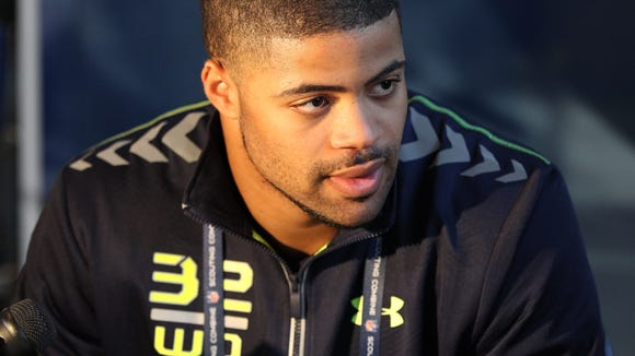 Indiana Hoosiers wide receiver Cody Latimer speaks at the NFL Combine.
