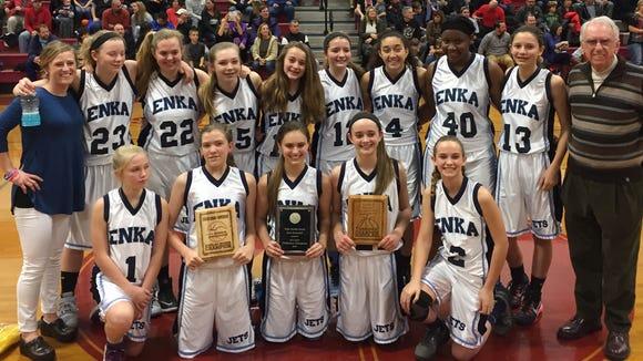 The Enka Middle School girls basketball team.