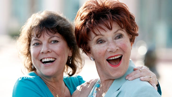 "In this June 18, 2009, file photo, actresses Erin Moran, left, and Marion Ross pose together at the Academy of Television Arts and Sciences' ""A Father's Day Salute to TV Dads"" in the North Hollywood section of Los Angeles."