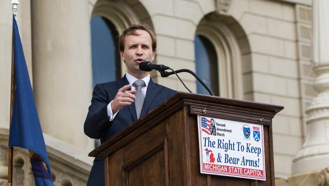 Lt. Gov. Brian Calley addresses a Second Amendment rally at the Capitol in downtown Lansing in this April 2017 LSJ file photo.