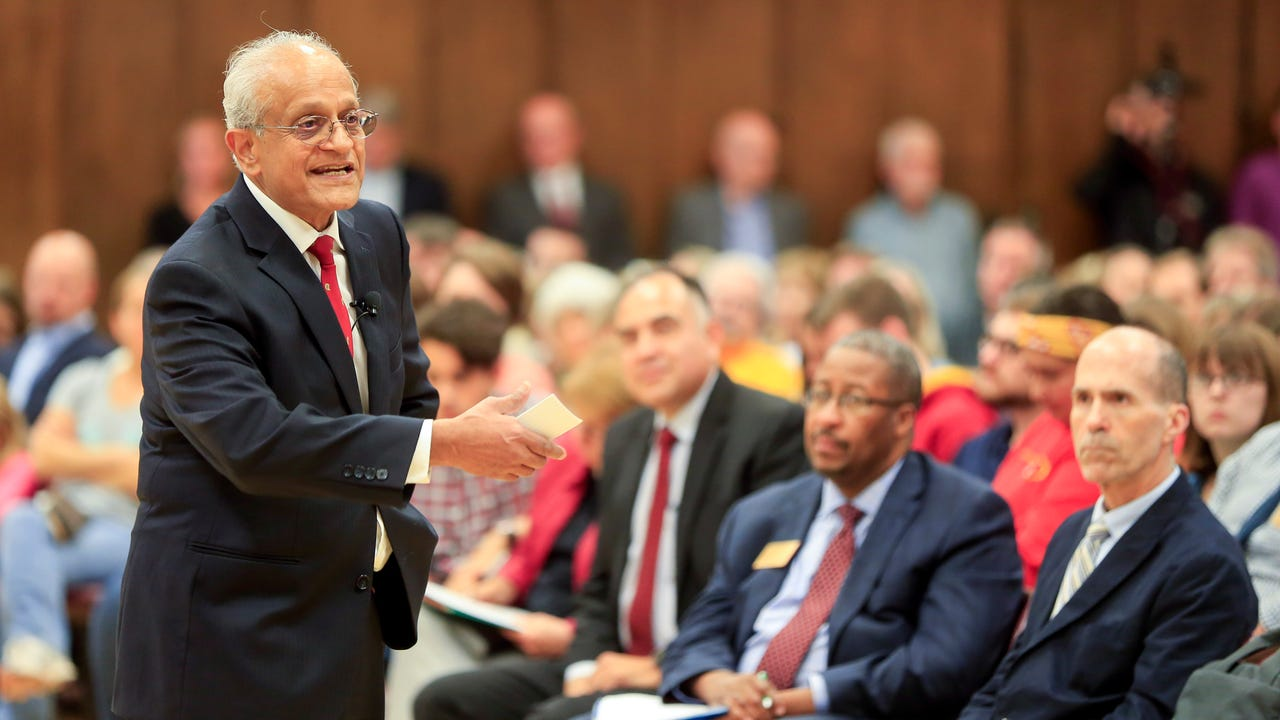 Sonny Ramaswamy, one of four finalists for Iowa State University president, talks about how he wants to build on university's achievements and address issues like poverty and the opioid crisis in the community.