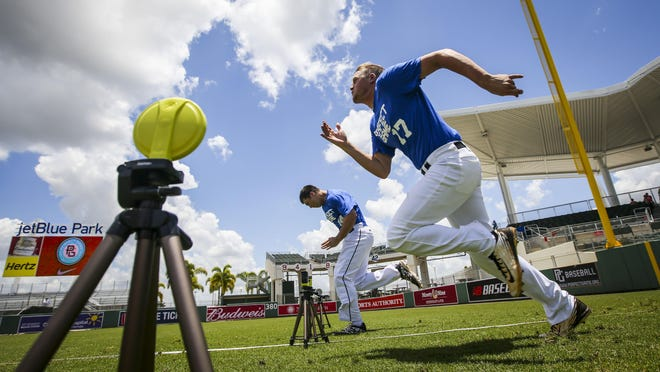 Players take off on their timed 60-yard dash at JetBlue Park. Wednesday, June 18th, 2015. A look at the Perfect Game National Showcase and its importance to MLB.The high school baseball equivalent of the NFL Combine visits Fort Myers with a twist: SaturdayÕs game will be livestreamed and later nationally televised for the first time. The whoÕs who of high school baseball draws more than 200 Major League Baseball scouts (the Minnesota Twins had five scouts on hand) plus college coaches from across the country. But the four-day event receives little fanfare or media attention.