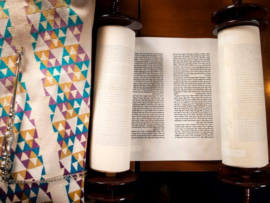 The lightweight Torah the Vise family donated in memory of Harry Vise at The Temple Congregation Ohabai Sholom, Friday, Sept. 30, 2016, in Nashville, Tenn.
