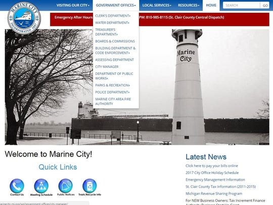 Marine City has drop-down menus with easy-to-access information