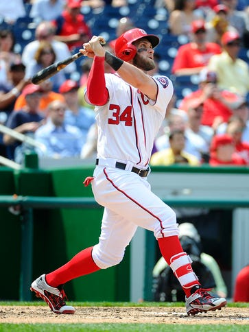 Bryce Harper hits his third home run of the game.