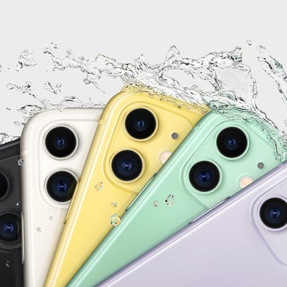 Six iPhone 11 devices being splashed by water