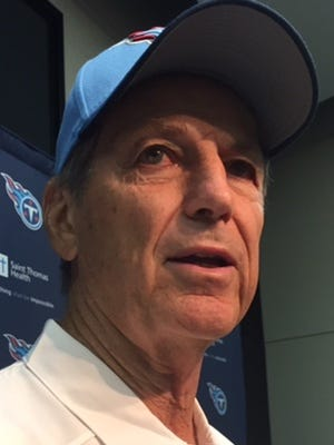Titans defensive coach Dick LeBeau speaks with reporters on Tuesday at Saint Thomas Sports Park.