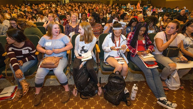 New students gather in the Pitman Theatre for Alverno College's Convocation for the start of the fall 2017 semester.