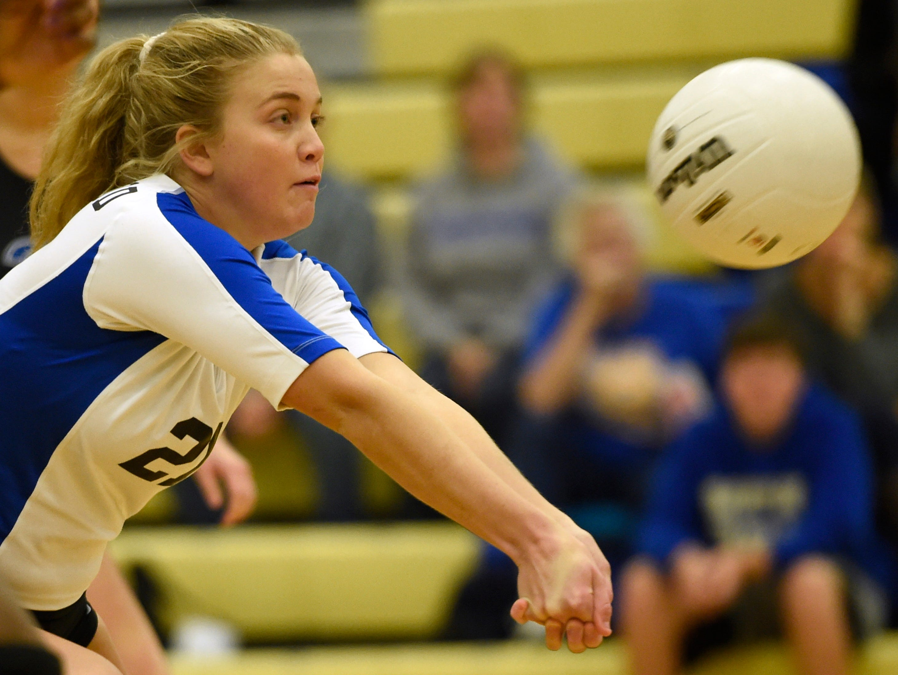 Brentwood's Georgia Cotton bumps the ball to her setter as they take on Portland in the Sub-State Volleyball tournament Thursday Oct. 15, 2015, in Brentwood, Tenn.