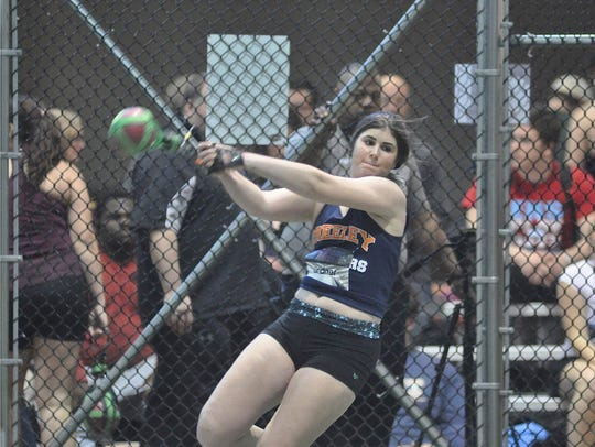 Horace Greeley's Kira Lindner prepares to throw the