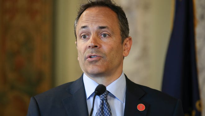 Governor Matt Bevin announces that he will veto the entire budget and the tax reform bill during a morning press conference in Frankfort.April 9, 2018