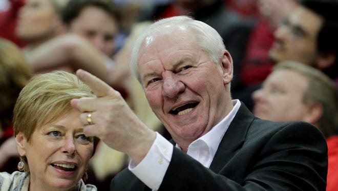 Former Kentucky Colonel great Dan Issel watches Louisville take on No. 1 ranked Virginia at the KFC Yum! Center in Louisville, Kentucky. 