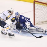 Tyler Bozak tied the score late in regulation and then had the only goal in the shootout to lift the Toronto Maple Leafs to a 4-3 victory over the Buffalo Sabres on Wednesday night.