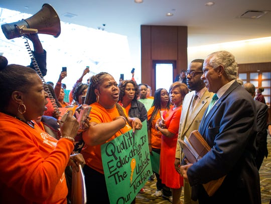 Parents and grandparents from Memphis Lift speak to