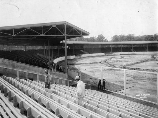 Bosse Field shortly before the stadium opened in June 1915. Karl Kae Kencht.