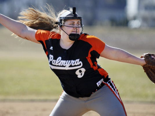 Palmyra's Catherine Wicker delivers a pitch during her two-inning stint on the mound, in which she retired all six hitters she faced.