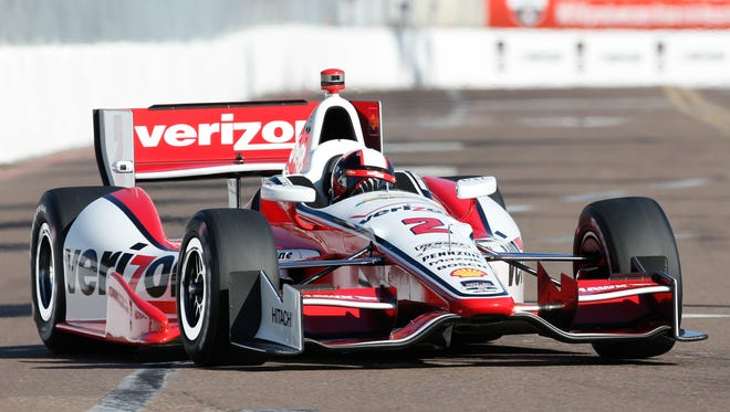 Juan Pablo Montoya of Colombia, driver of the #2 Verizon Team Penske Chevrolet drives during practice for the Verizon IndyCar Series Firestone Grand Prix of St. Petersburg at the Streets of St. Petersburg on March 30, 2014 in St Petersburg, Florida