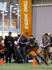 Jalen Reeves-Maybin competes during the NFL Pro Day at UT Friday, March 31, 2017 in Knoxville, Tenn.