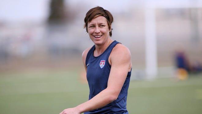 Abby Wambach warms up prior to a USWNT practice at Waverley Complex in May.
