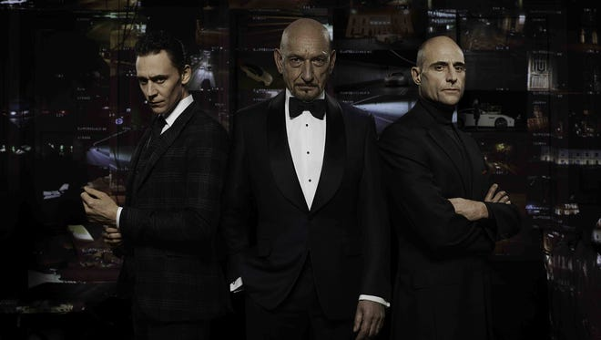 Three British actors who have played famous villains in films -- Tom Hiddleston, Sir Ben Kingsley and Mark Strong -- appear in an ad for Jaguar. It's one of several ads in the game featuring multiple celebrities.