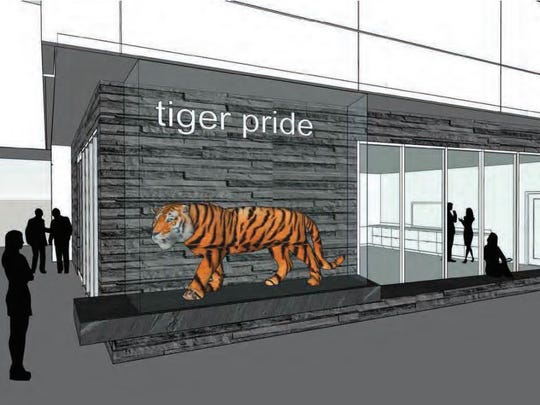 A drawing shows possible designs for Tech's tiger to be on display at the new Tech High School.