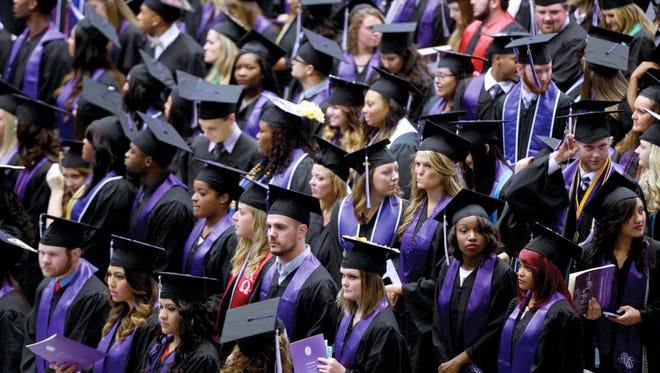 Stephen F. Austin State University graduates on Aug. 15, 2015.