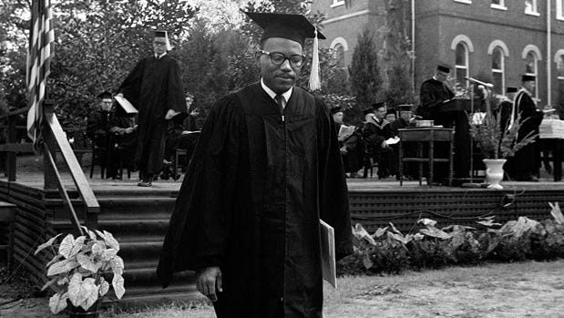 James Meredith, the first known black student to attend the University of Mississippi, graduates on August 18, 1963.