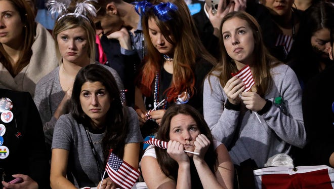 Supporters watch the election results on a larger television monitor during Democratic presidential nominee Hillary Clinton's election night rally in the Jacob Javits Center glass enclosed lobby in New York, Tuesday, Nov. 8, 2016.