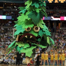 DENVER, CO - APRIL 01:  The mascot for the Stanford Cardinal performs against the Baylor Bears during the National Semifinal game of the 2012 NCAA Division I Women's Basketball Championship at Pepsi Center on April 1, 2012 in Denver, Colorado.