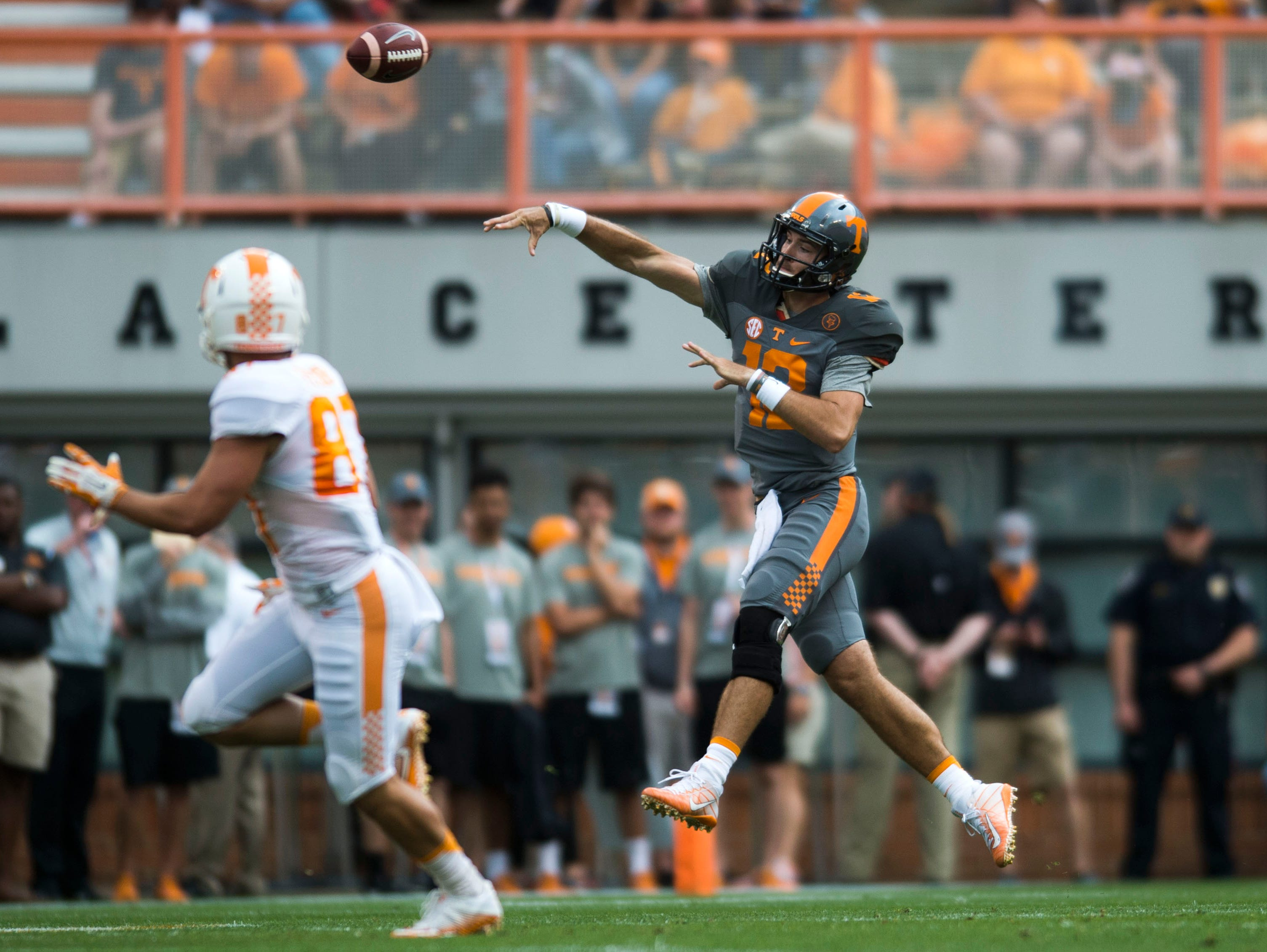 Quarterback Quinten Dormady (12) throws the ball during the Orange & White game in Neyland Stadium on Saturday, April 22, 2017.