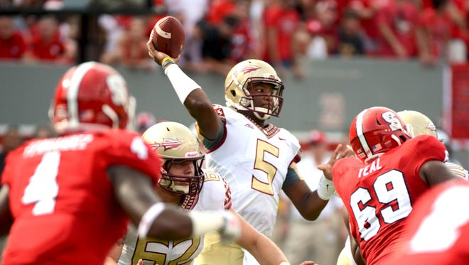 Jameis Winston threw for 365 yards and four touchdowns but also two interceptions.