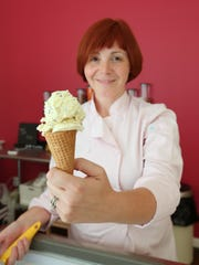 Ellen Sledge with an ice cream cone at Penny Lick Ice Cream in Hastings.