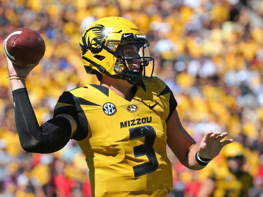 Sep 22, 2018; Columbia, MO, USA; Missouri Tigers quarterback Drew Lock (3) throws a pass against the Georgia Bulldogs in the first half at Memorial Stadium/Faurot Field. Mandatory Credit: Jay Biggerstaff-USA TODAY Sports