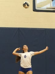Lake View's Shae Gonzales serves the ball during action