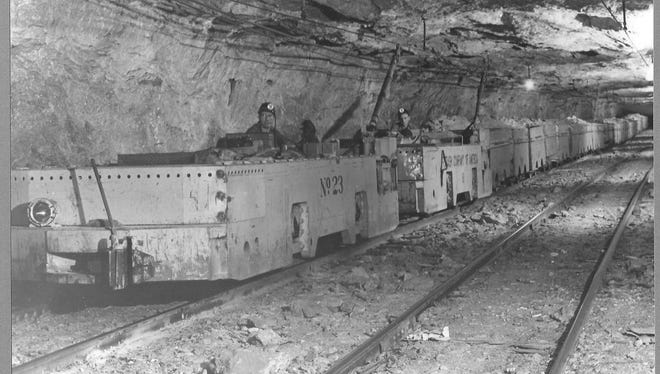 A mine car travels through a now-abandoned potash mine in Carlsbad.