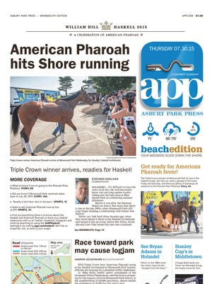 Asbury Park Press front page, Thursday, July 30, 2015
