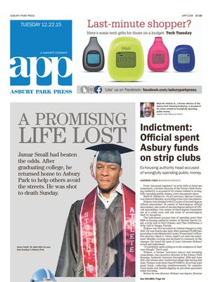 Asbury Park Press front page Tuesday, Dec. 22 2015