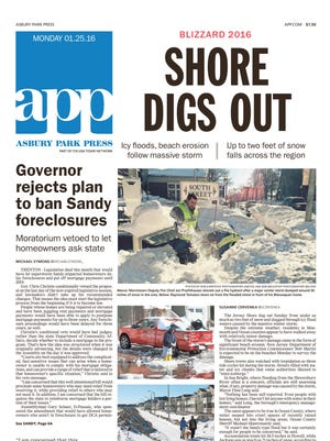 Asbury Park Press front page, Monday, January 25, 2016.