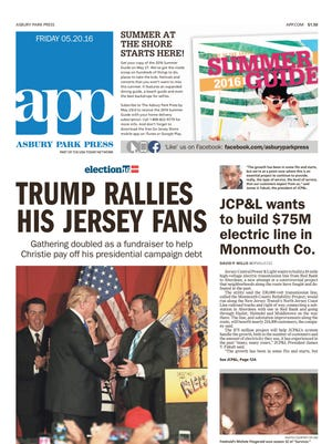 Asbury Park Press, front page, 5/20/2016