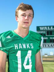Wall's Brock Rosenquist was the District 2-3A Division I co-MVP, shared co-MVP honors with Sonora's Kaden Cordell on the All-West Texas Team. In his first full season as starter directed a flexbone offense that averaged almost 10 yards a carry, more than 20 yards a pass completion and scored more than 43 points a game; completed 35-of-79 passes for 828 yards and 14 touchdowns, carried 129 times for 859 yards and 16 TDs.