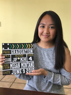 Megan Montano, a senior at John F. Kennedy High School, with the design for her graduation cap.