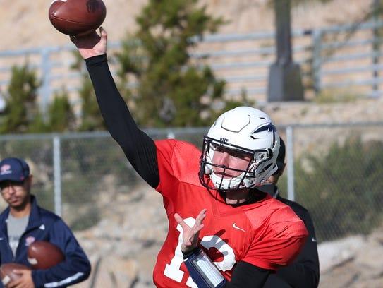 UTEP quarterback Ryan Metz during a Nov. 1 practice