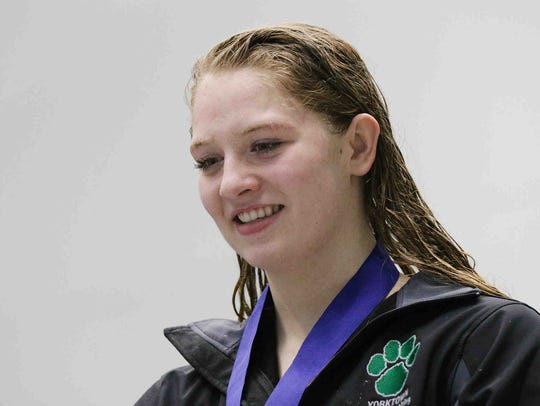 Yorktown's Emily Weiss is awarded first place in the