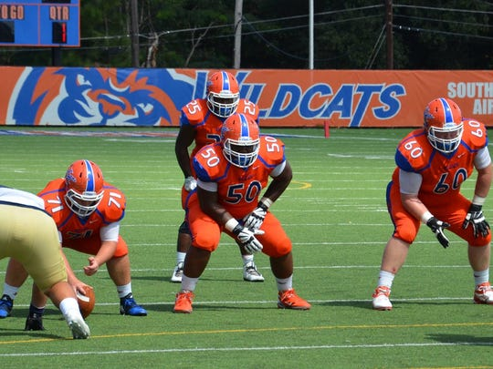 Louisiana College sophomore left guard Jamarcus Fitzpatrick and the Wildcat offensive line have helped LC's prolific offense this season.