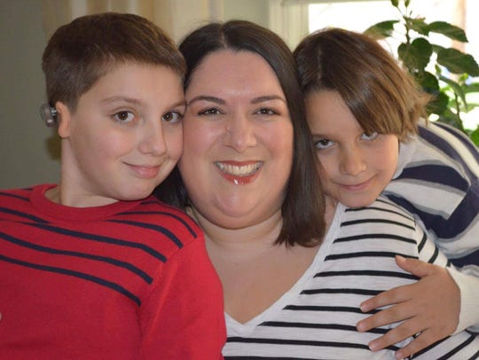 Kristin Cavuto and her two sons, Isaac, 9, left, and