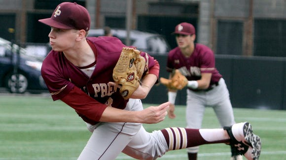 Dylan Sabia of Iona Prep was the winning pitcher as Iona Prep defeated Fordham Prep 4-1 in a CHSAA semifinal playoff game at Fordham University Thursday.