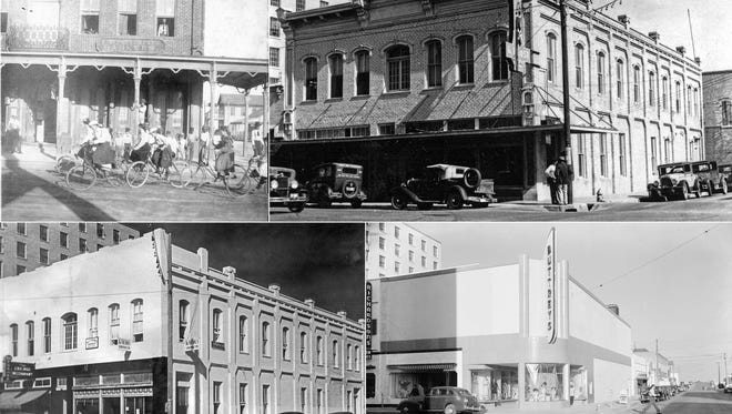 """The Doddridge Building in the 1880s, upper left, and in 1931 at upper right when it was known as the Garrett Building, and in 1939 on the lower left. The 1883 building was torn down or renovated to house Buttrey's Women's Shop, shown in the 1940s at bottom right. The 1880s photo is from the Murphy Givens' collection; the other three are from the  """"Doc"""" McGregor collection at the Museum of Science and History."""